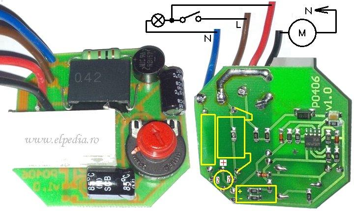Foto PCB timer PO-406 - Aplicatie tipica