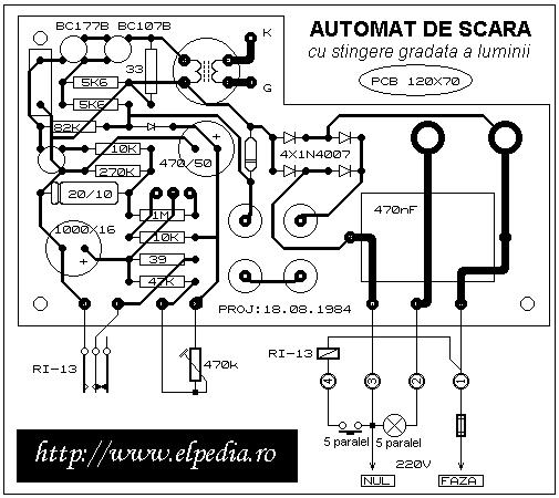 Automat de scara cu stingere gradata a luminii - PCB