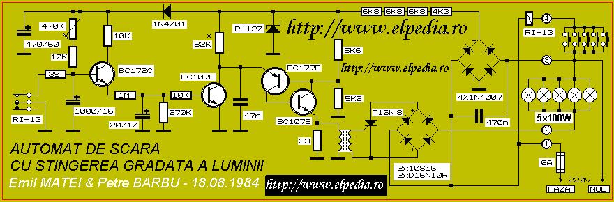 Automat de scara cu stingere gradata a luminii - Schema electrica