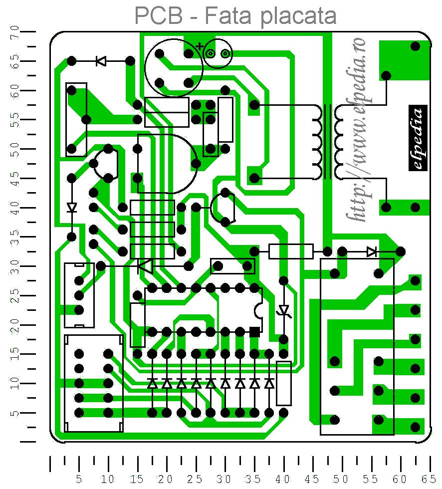 Temporizator digital - PCB - Fata placata