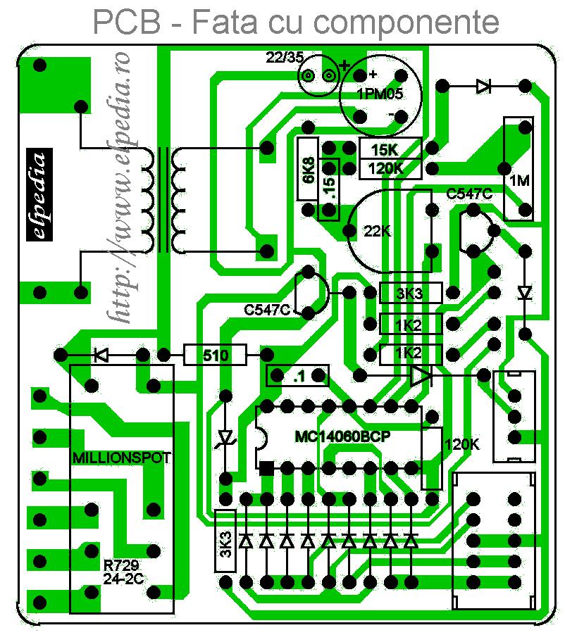 Temporizator digital PCB - Fata cu componente