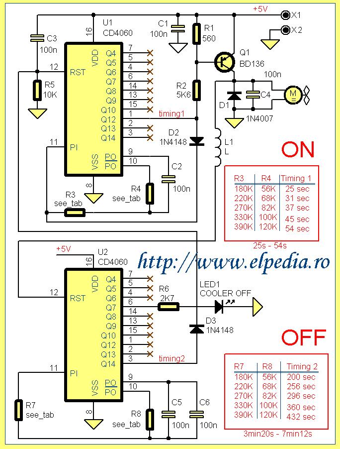 Schema electrica Temporizator digital ciclic