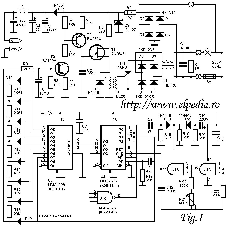 Schema circuit  lumina pulsatorie, pentru crestere si descrestere gradata a intensitatii luminoase