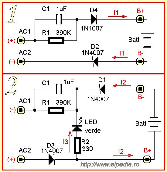 Incarcator lanterna - schema echivalenta